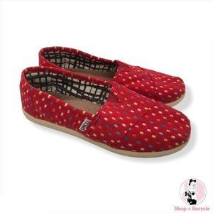 Toms Alpargata Red Slip-on Shoes Size 5Y